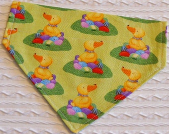 Easter Dog Bandana with Duckling & Eggs Sizes S to XL in Dog Collar Style Dog Bandanna
