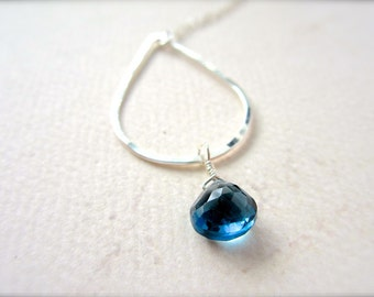 Ocean's Depth Necklace - london blue topaz necklace, london blue topaz teardrop necklace, december birthstone, N11