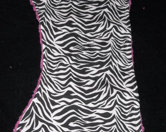 Black and White Zebra  with Hot pink Chenille  Burp Cloth