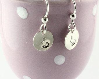 Hand Stamped Easter Bunny Dangle Earrings - Rabbit Earrings - Sterling Silver