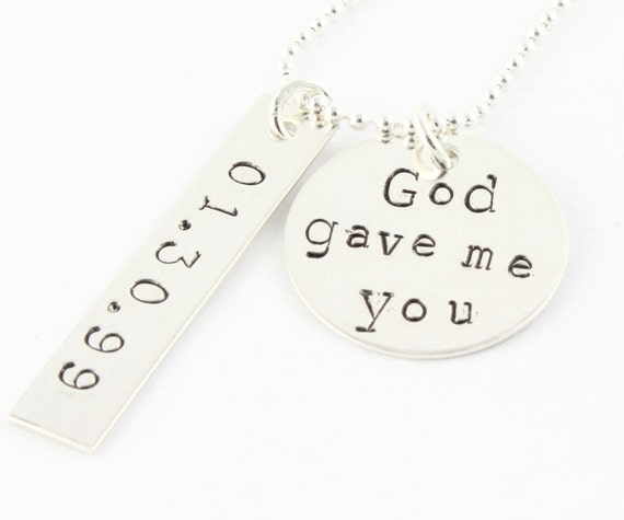 Personalized God Gave Me You Necklace - Christmas Gift - Wedding Necklace With Date - Custom Mother's Necklace