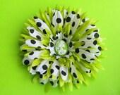 Girl Skull Cameo Lime Green Black White Polka Dots Hair Flower Clip