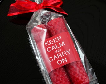 English Party Favors Keep Calm and Carry On Candles Red Beeswax Candle Taper Pair 4 inch Red & White Eco Friendly Party Favor Candles
