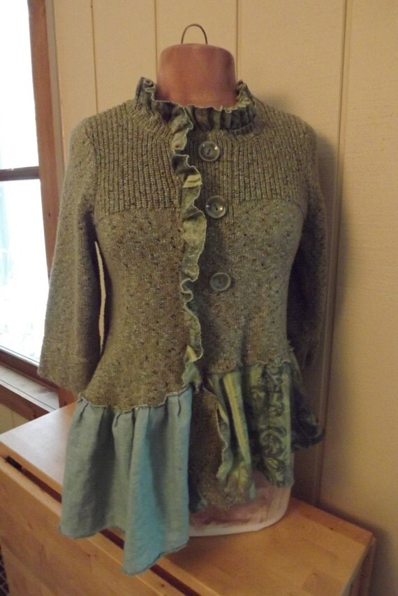 Lagenlook Art To Wear Upcycled Sweater Tunic Cotton Hand Dyed