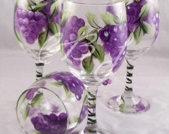 Grape Wine Glasses Set of 4