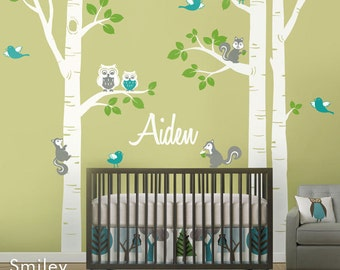Nursery Wall Decal Birch Trees Forest Animals Kids Personalized Wall Decal Owsl Squirrels Birds Baby Room Art Decor