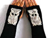 Knit Wrist Warmers Knit Black Gloves Beige Owl Gloves Womens Wristwarmers Cozy Gloves Warm Wrist Warmers Winter Gloves Womens Accessories