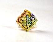 Crochet Ring Fiber Ring  Miniature Granny Square Sage Yellow Purple Copper Ecru Band