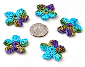 Crochet Applique Mini Flower Motif Flower Embellishment Crochet Flower Applique Purple Gold Green Peacock Crochet Motif Crochet Flower Motif
