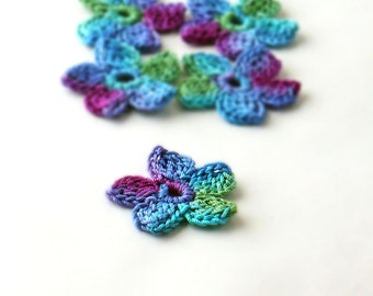 Crochet Applique Mini Flower Motif Flower Embellishment Crochet Flower Applique Crochet Motif  Blue Teal Purple Green Crochet Flower Motif