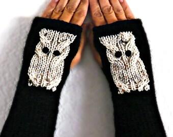 Knit Wrist Warmers Knit Black Gloves Beige Owl Gloves Womens Wristwarmers Cozy Gloves Warm Wrist Warmers Winter Gloves Womens Accessories