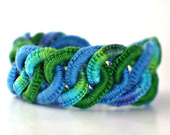 Crochet Bracelet Fiber Bracelet  Faux Chainmail Irish Lace Fine Thread Bracelet Royal Blue Green Sea Colors