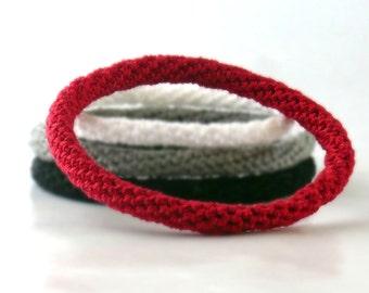 Crochet Bracelet Fiber Bracelet  Bangle Fine Thread Icord Red