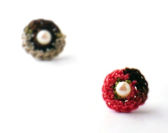 Crochet Earrings Stud Earrings  Mini Circles Round Earrings Salmon Pink Chocolate Brown Linen Small Earrings Little Earrings Spring Green