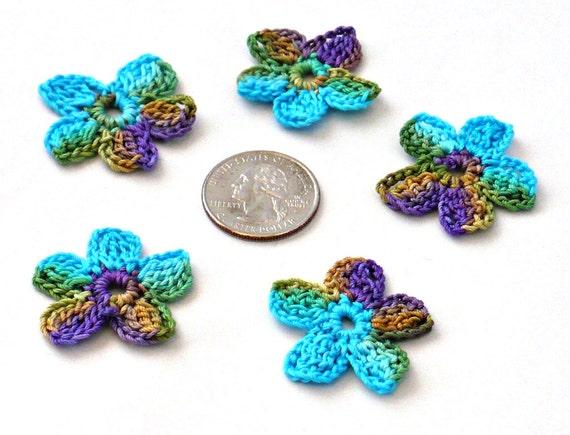 Crochet Applique Mini Flower Motif Flower Embellishment Crochet Flower Applique Purple Gold Green Peacock Crochet Motif Crochet Flower Motif