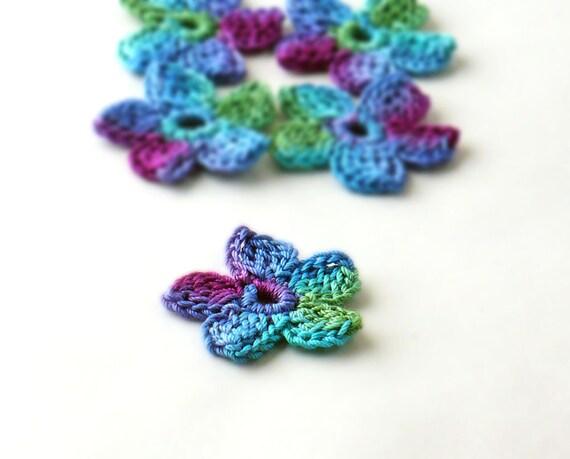 Crochet Applique Mini Flower Motif Flower Embellishment Crochet Flower Applique Crochet Motif  Blue Teal Purple Green Crochet Flower Motif