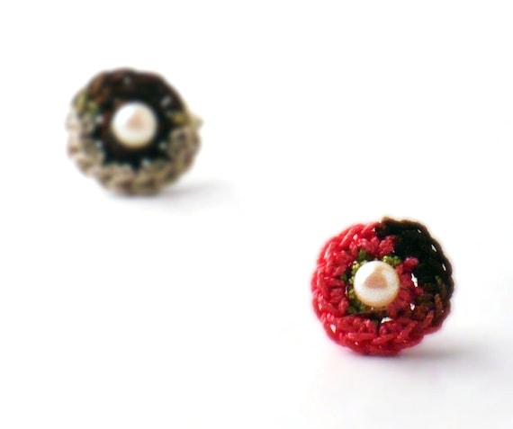 Crochet Earrings Stud Earrings  Mini Circles Round Earrings Salmon Pink Chocolate Brown Linen Small Earrings Little Earrings Spring Green