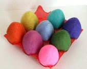 Easter 8 Eggs - Wool Felted  - Home Decor - Needle Felt