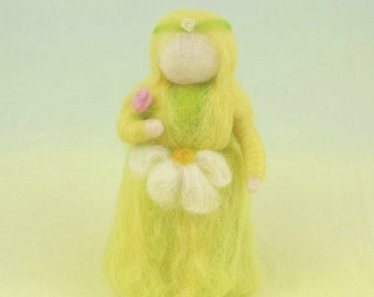 Lady Spring Wool Doll Needle Felted Waldorf Style Puppet