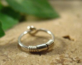 Hoop Earring Silver Split Wrap Silver SINGLE - Tragus Jewelry, Rook Jewelry, Daith Jewelry, Helix Jewelry, Cartilage Jewelry, Single Hoop