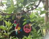 The Festival - dangly hippy peace sign earrings for gauged ears