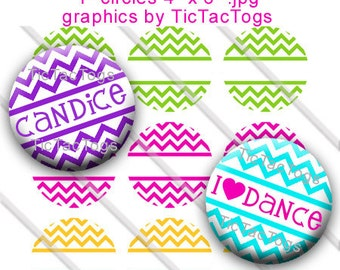 Editable Colorful Chevron Bottle Cap Images 1 Inch Circles Graphics Digi Collage JPEG - Instant Download - BC286