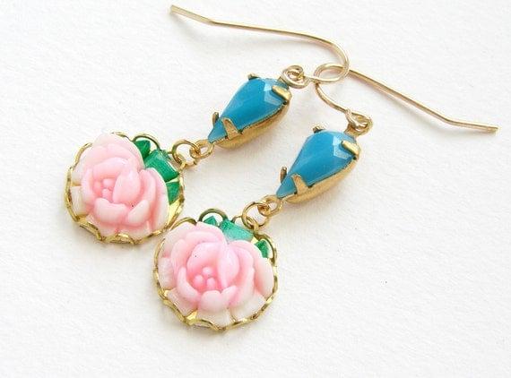 Rose drop earrings, bridesmaid jewelry vintage blush pink rose teal blue turquoise glass tear drop earrings