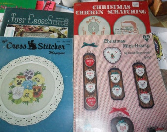 4 Vintage CrossStiching Magazines and Booklets dated from 1983 through 1988