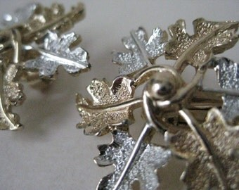 Leaf Silver Gold Earrings Clip Vintage