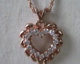 Heart Copper Crystal Necklace Clear Pendant Vintage