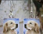 Art Glass Earrings Dog 98 Golden Retriever Jewelry painting by L.Dumas