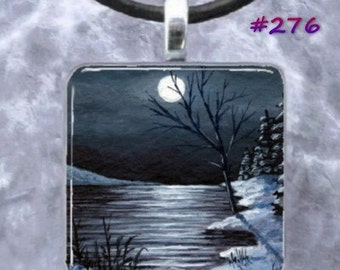Art Glass Pendant 1x1 Jewelry Necklace Earrings Landscape 276 or 279 from art painting by L.Dumas