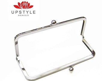 "FREE Shipping to USA - 10 Metal Purse Frames - 8"" x 3""- Classic Style Clutch Purse Frame - Nickel or Antique Brass"