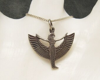 Vintage Necklace Sterling Egyptian Winged Figure N5231