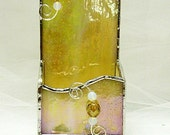 Stained Glass Business Card Holder Elegant Irridesent Gold Glass