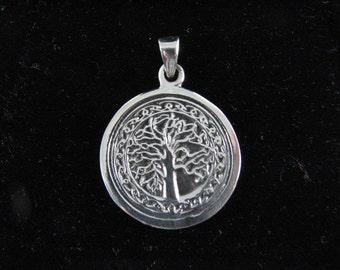Original Tree of Life Pendant Sterling Silver Detailed Medallion