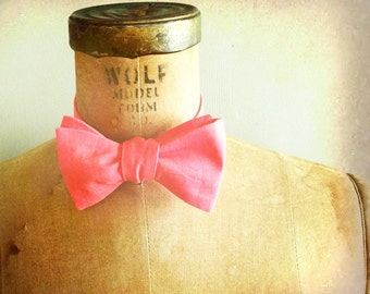 Mens / Boys Bow Tie - Geek Chic Number 86 - Limited Edition Remnant Solid Coral Cotton