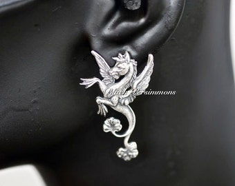 Pegasus Earrings - Made in USA Greek Winged Horse God Components - Antique Sterling Silver Plated Brass