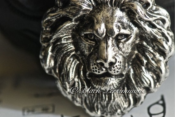 The Lion Necklace - American Made Antique Sterling Silver Plated Brass Stamping - Insurance Included