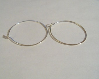 Sterling silver hammered hoops 1.25 inch
