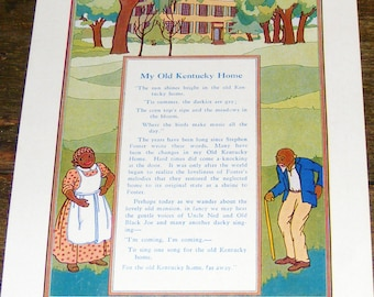 SALE Rare Vintage My Old Kentucky Home Folk Song Litho Print Black Americana