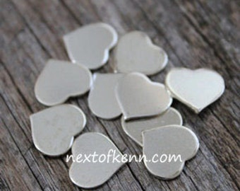 SALE - 10 pk 1/2 inch 20 gauge Sterling Silver hearts - Hand Stamped Jewelry Supplies
