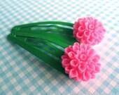SUPER CUTE PROMO : Pink Dahlia Flower Snap Hair Clips