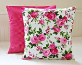 pink roses shabby chic cushion cover, 16 inch cerise pink decorative pillow cover