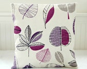 mauve,gray, damson leaves cushion cover, 18 inch grey purple pillow cover