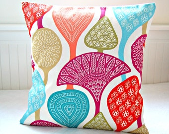 retro style decorative pillow cover teal pink green red, cushion cover 18 inch