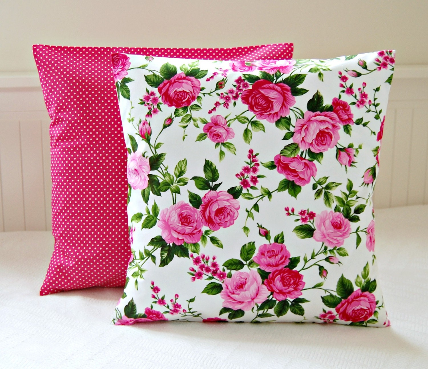 Decorative Pillow Pink : pink roses shabby chic cushion cover 16 inch cerise pink