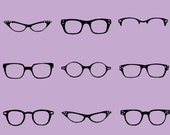 Purple Retro Glasses Frames Cotton Fabric - 1 Yard Reserved for yahPhoto