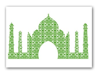 Damask Taj Mahal in green - Fine art print, silhouette,monument,Agra,India,vintage,fine art print