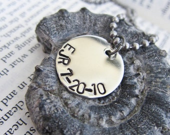 Personalized Hand Stamped Necklace - Perfect for Mom, Mommy, Mummy, Dad, Daddy Gift - One Single Disc and Chain